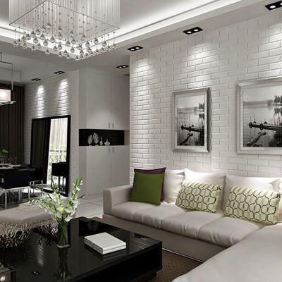 30 White Brick Wall Living Rooms That Inspire Your Design Creativity | White brick walls, Bricks ...