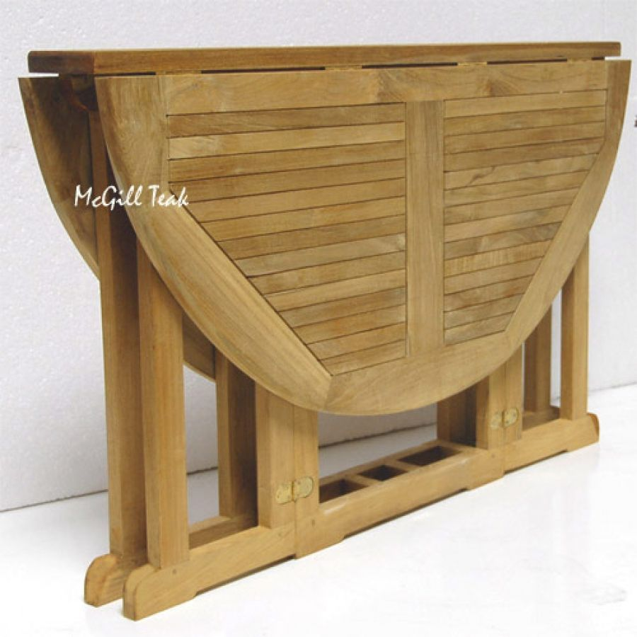 folding kitchen table round picnic table plans Teak Outdoor Round Butterfly Folding Table Mardel
