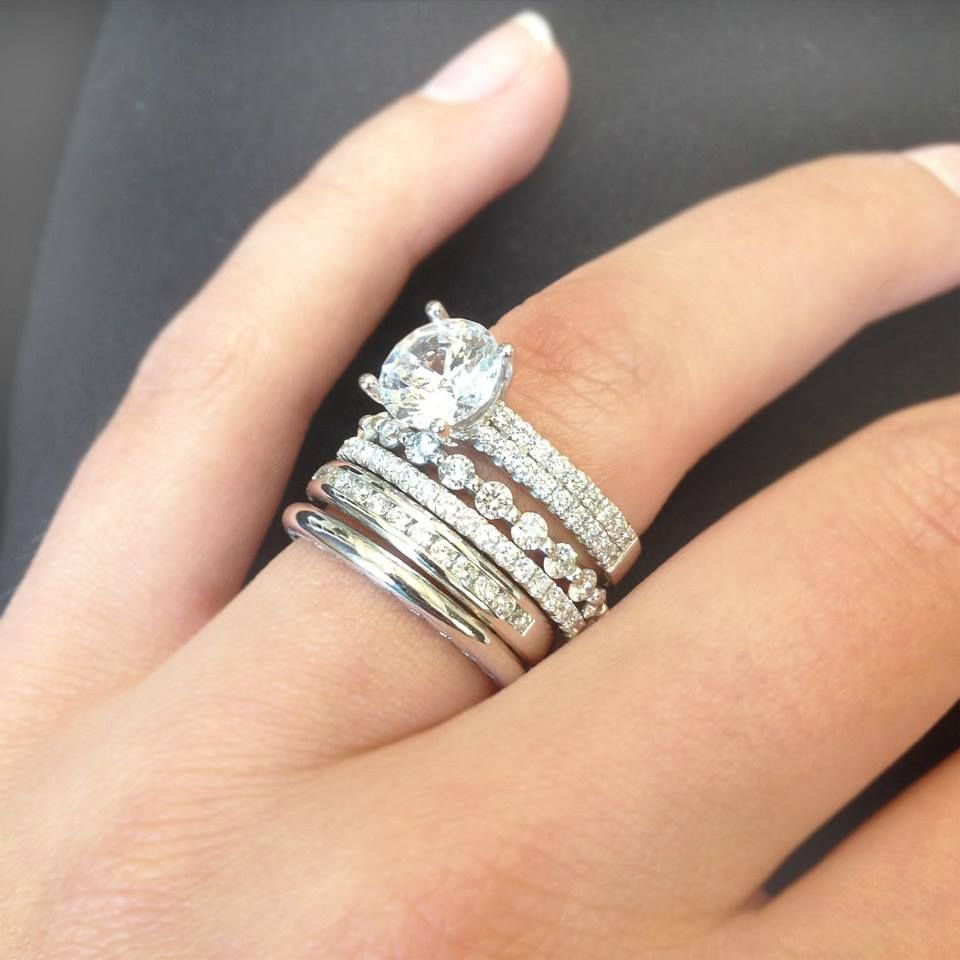 tacori wedding band Beautiful Stacked Wedding Rings Stackable Wedding Bands With Engagement Ring Wedding rings