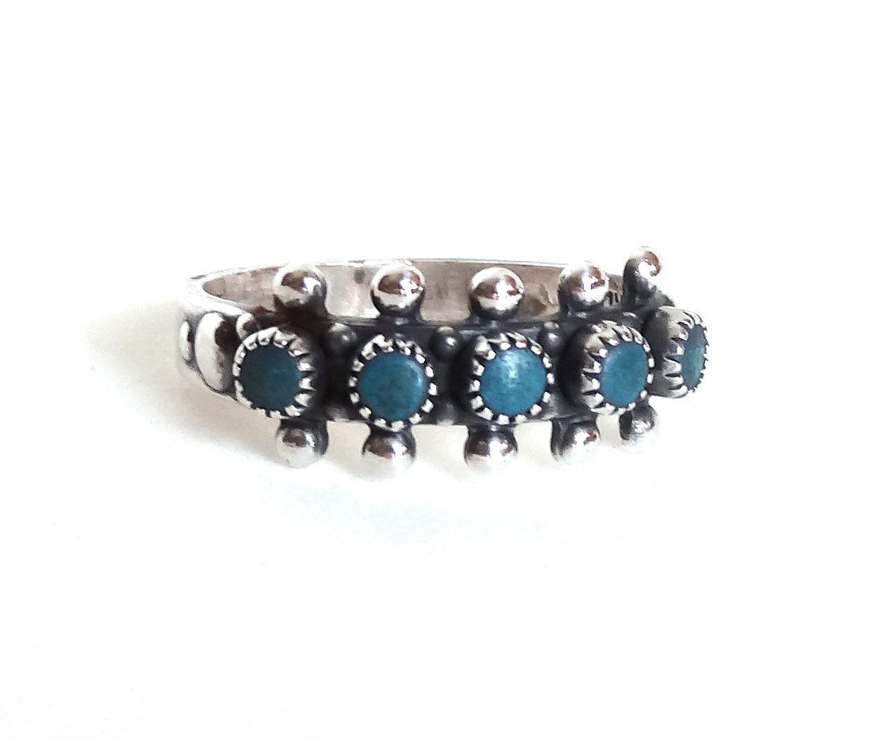 navajo wedding rings Vintage Turquoise Ring Sterling Silver Wedding Band Native American Indian Size 7 Mans Mens Unisex SANFORD