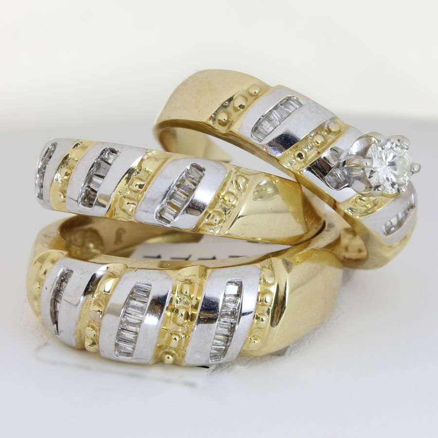 wedding rings set unique engagement wedding ring sets 25ct TCW Wedding Ring Set in 18K Two Tone Gold