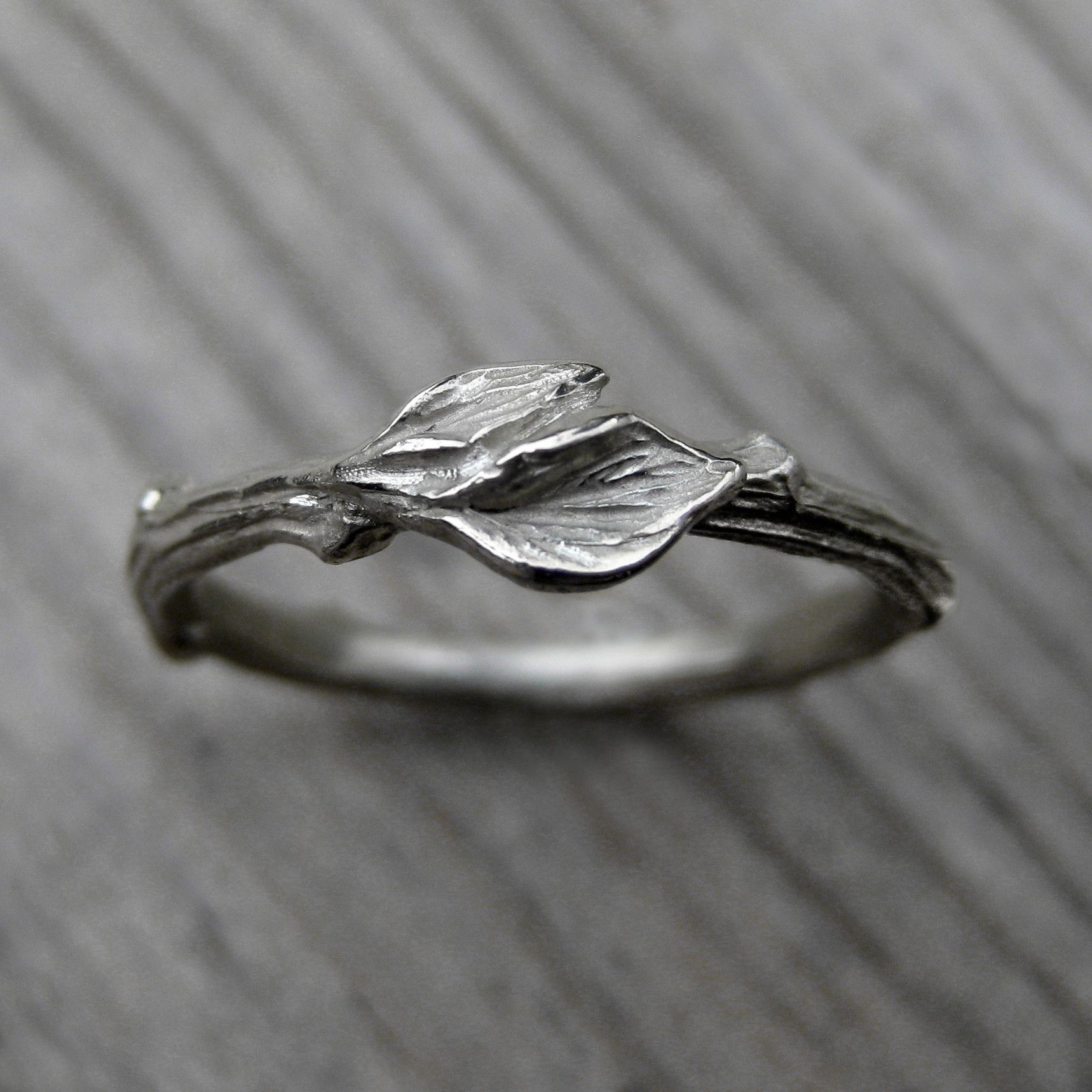 alternative wedding bands Twig with Leaves Wedding Band By Kristin Coffin Jewelry Available in rose yellow