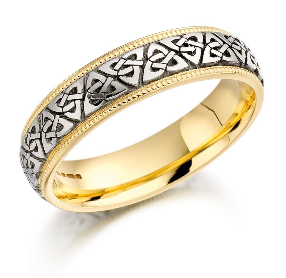 viking wedding bands Trinity Knot Wedding Ring Ladies Two Tone Trinity Celtic Knot Irish Wedding Band