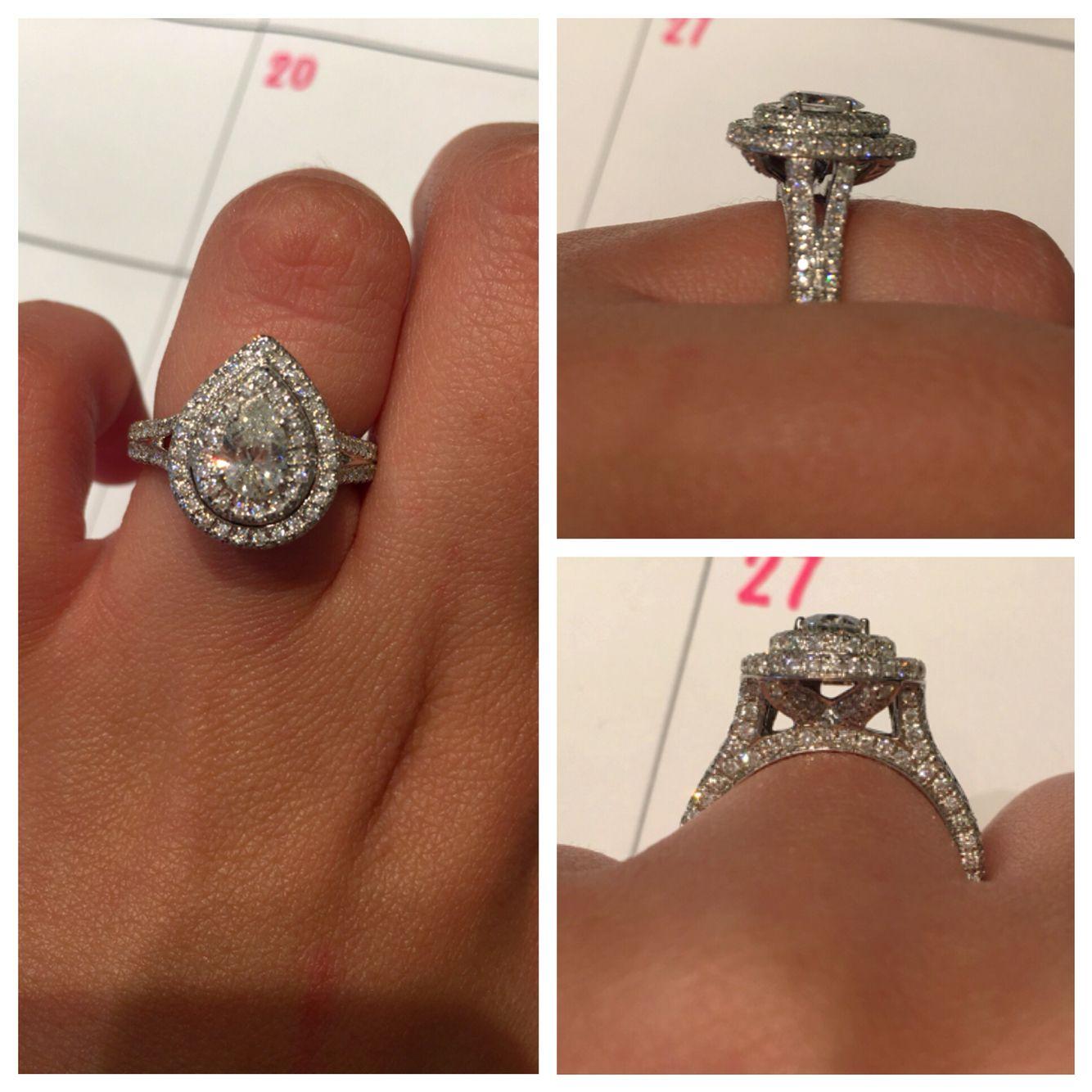 neil lane wedding rings Neil Lane Pear Double Halo Engagement Ring