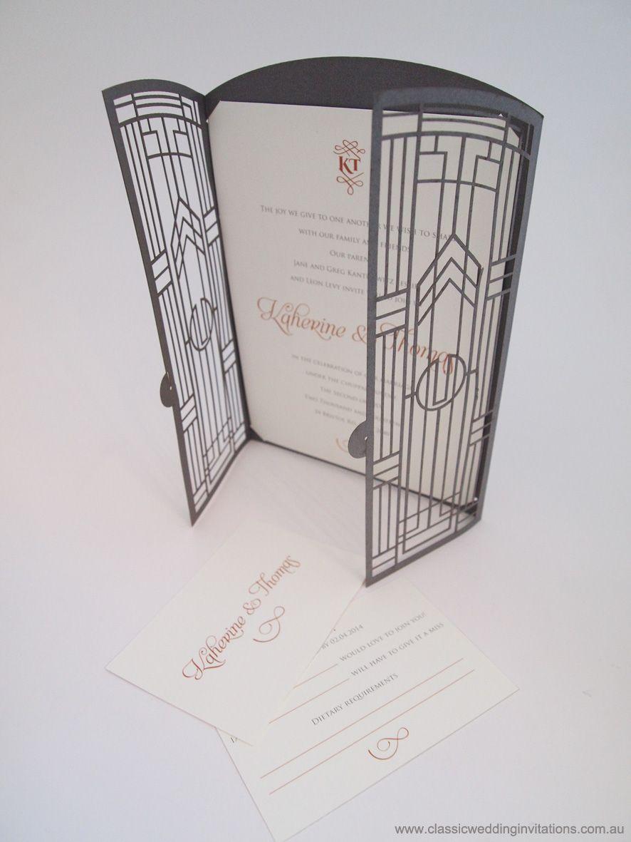 gatsby wedding invitations Great Gatsby Gate Fold Wedding Invitation by Classic Wedding Invitations http