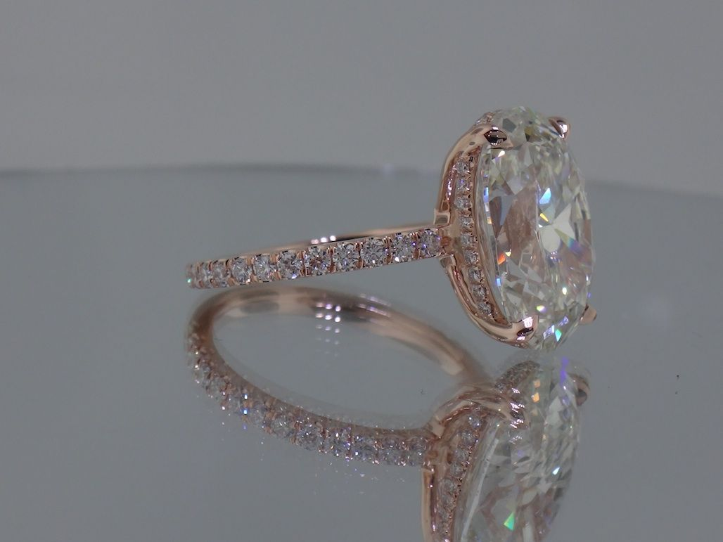custom wedding rings Josh Levkoff Collection Rings Rose Gold Oval Custom Engagement Ring with MicroPave Diamonds
