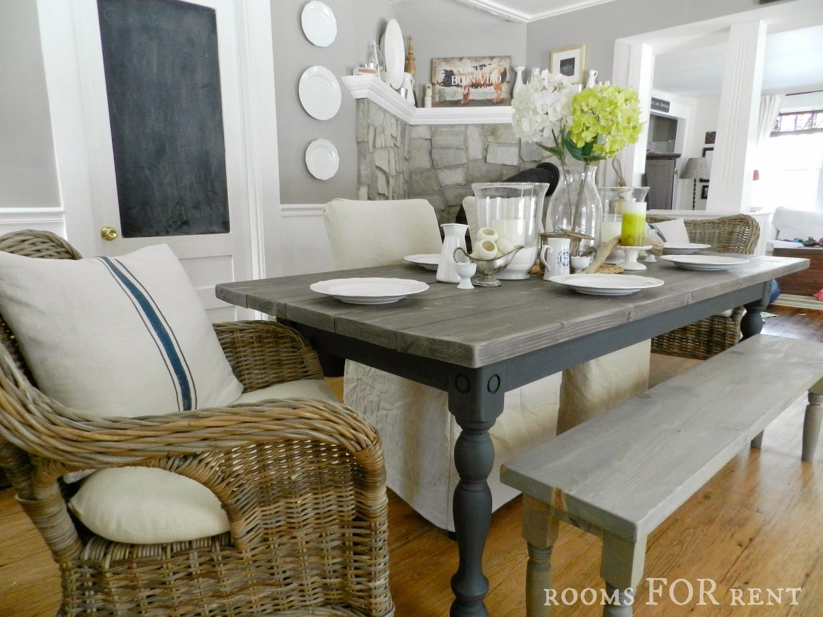 gray kitchen table AS Graphite base and legs top has wood colored stain then lightly sanded distressed and Farmhouse Dining TablesKitchen