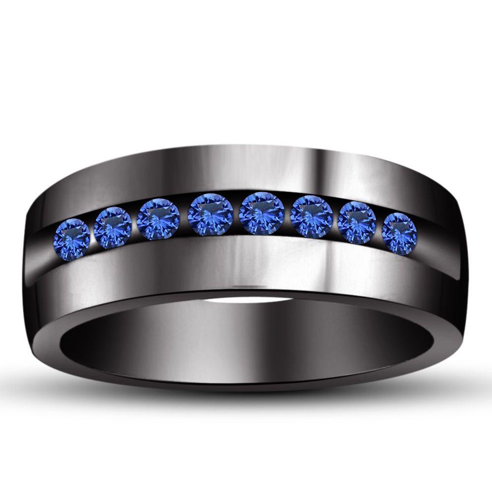 ebay wedding rings sets Sterling Silver Black Gp Blue Sapphire Wedding Men s Band Ring Suitable Sz