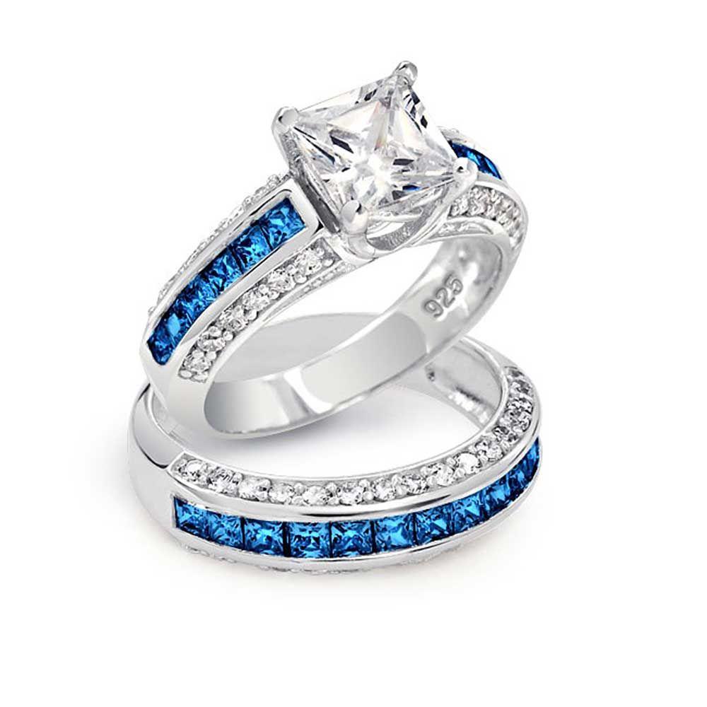 unique wedding ring sets Blue Diamond Wedding Ring Sets Blue Diamond Engagement Rings Princess Cut Jewelry Gallery