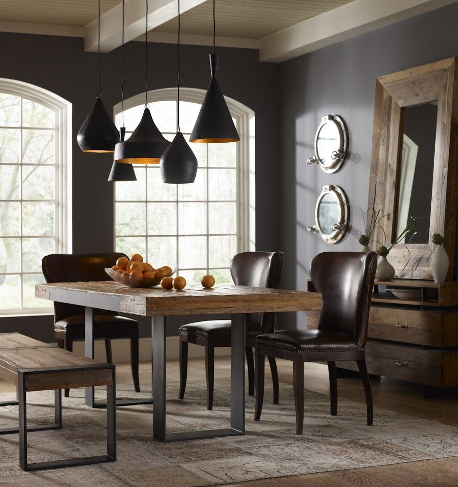 wrought iron kitchen chairs Graham Industrial Reclaimed Wood 84 Dining Table