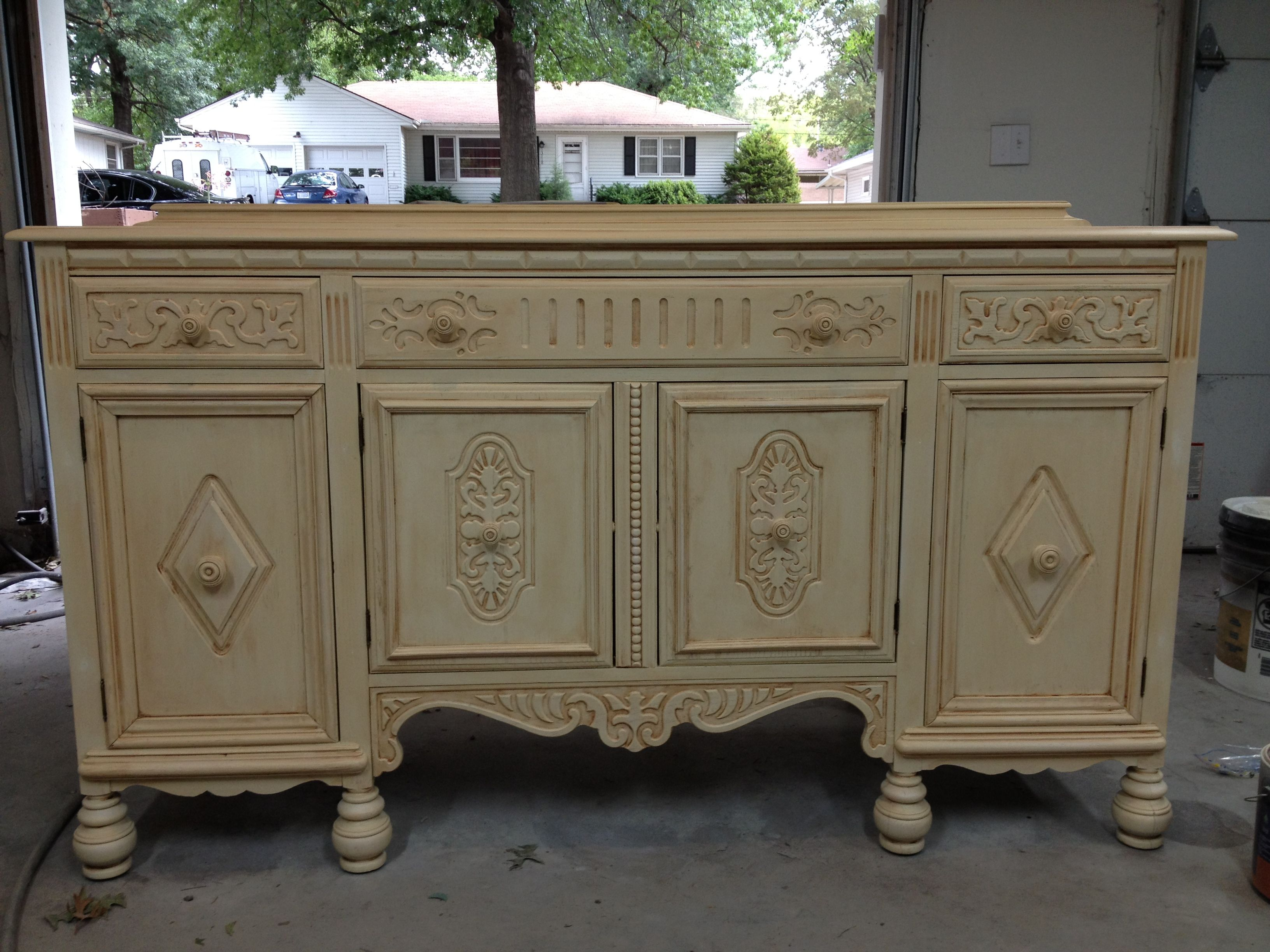 refurbished kitchen cabinets Antiqued buffet refurbished for tiny house kitchen cabinet add counter top