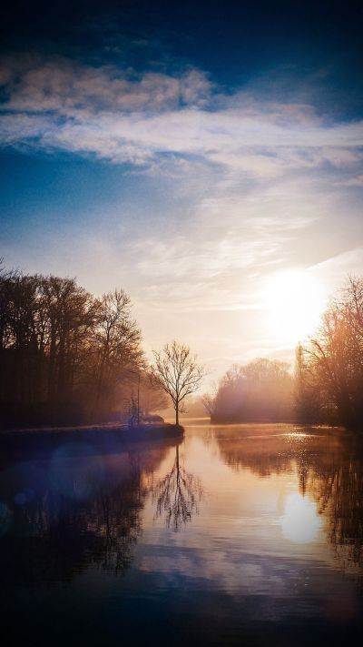 Lake Calm Tree Mountain Sunny Day Nature Vignette #iPhone #6 #plus #wallpaper | iPhone 6 ...