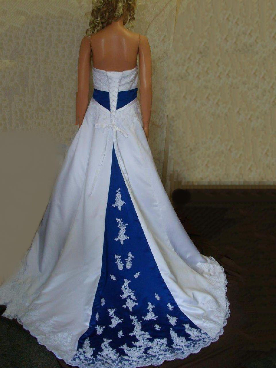light blue wedding dress blue wedding dresses wedding gown Royal Blue Empireand train Wedding Dress