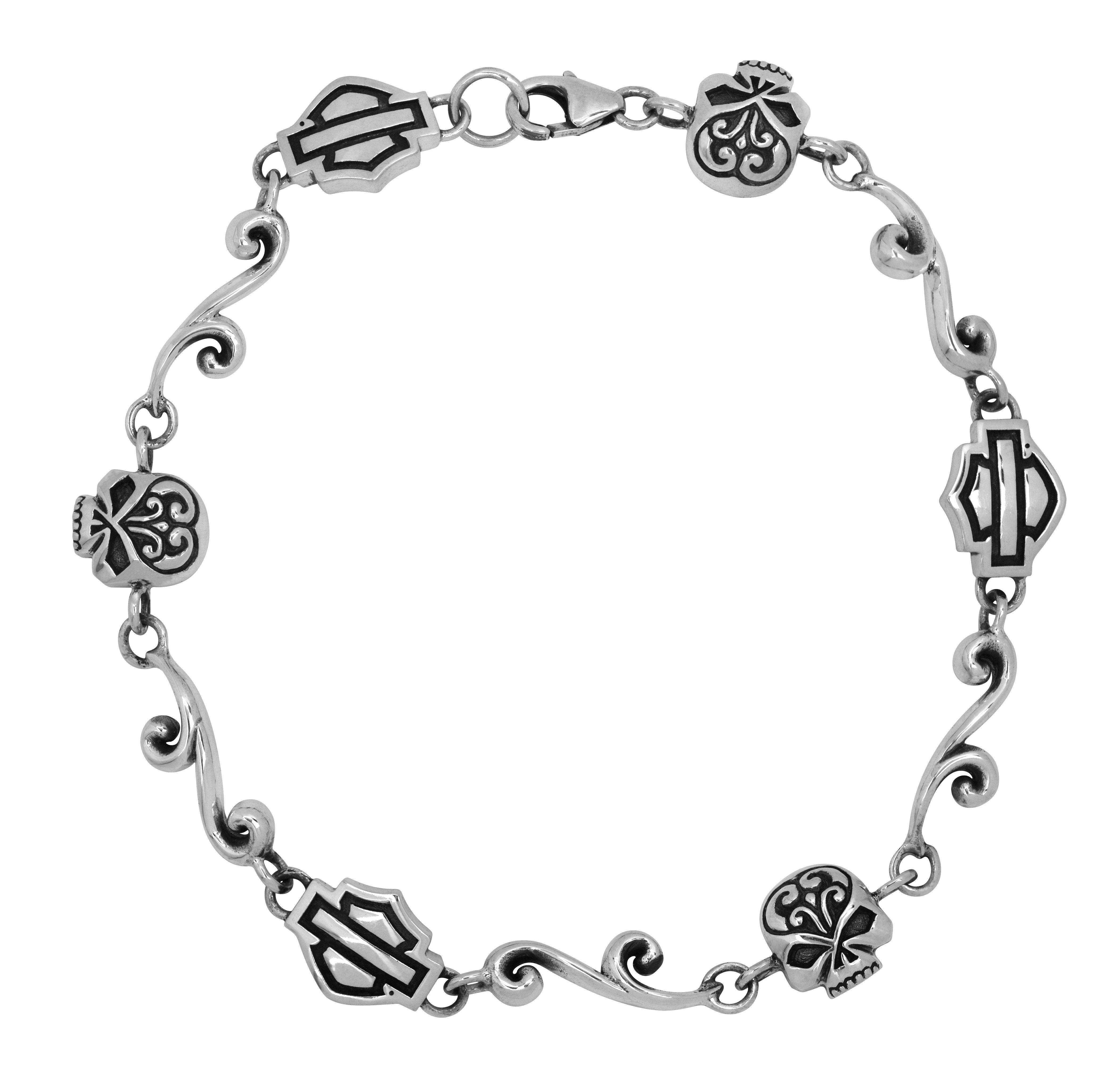 harley davidson wedding bands harley jewelry for women Harley Davidson Womens Silver Filigree Skull Chain