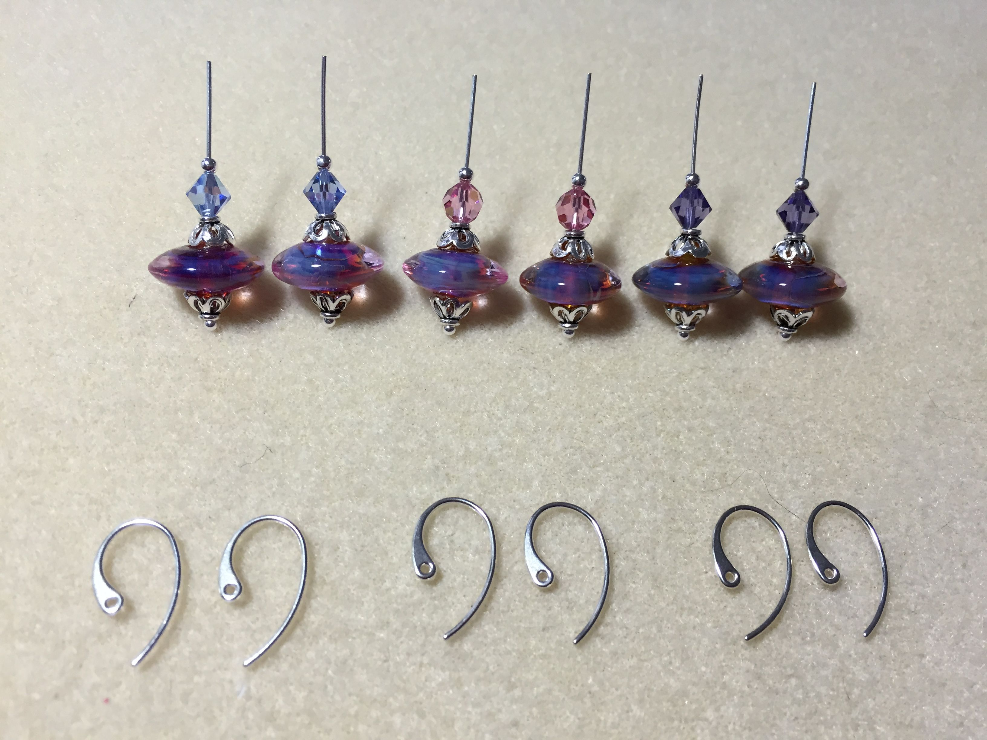 Lampwork glass, Swarovski crystal, and sterling silver earrings