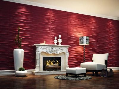Contemporary 3d Wallpaper In Lounge Space With Red Color Paint In Fireplace Area Cool 3d ...