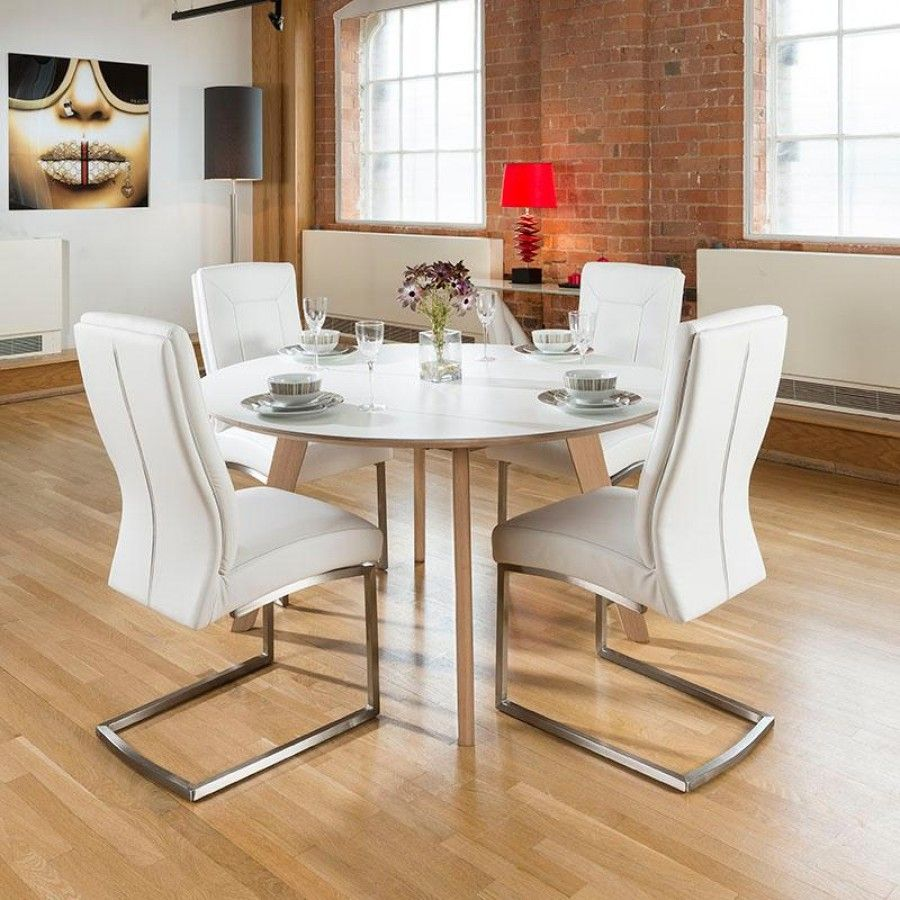 round kitchen table set Large cm luxury round dining table set with four white padded chairs Super high quality