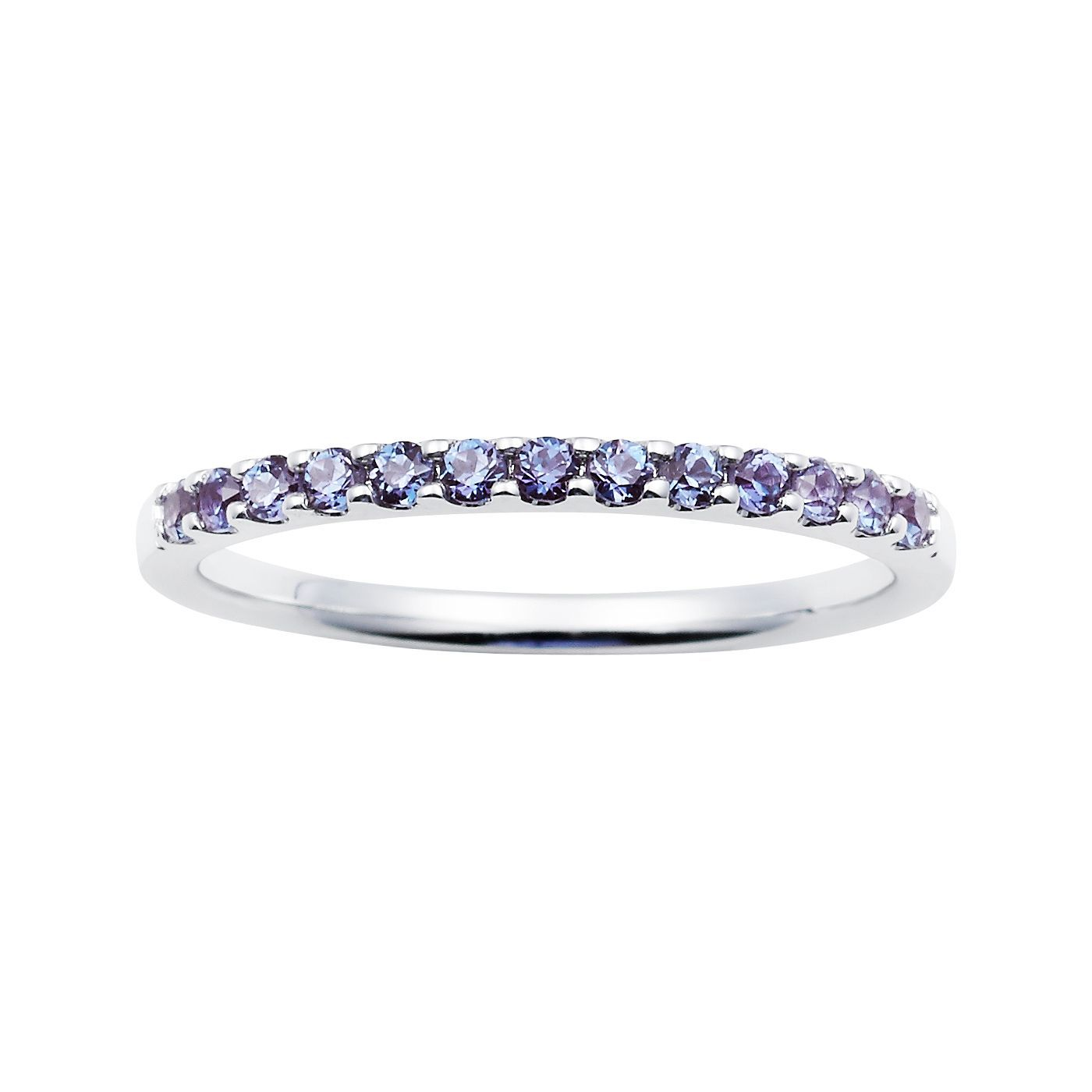 alexandrite wedding band Boston Bay Diamonds 14k White Gold Created Alexandrite Stackable Band Ring