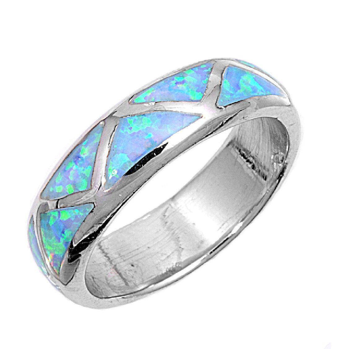 amazon wedding rings Rhodium Plated Sterling Silver Wedding Engagement Ring Blue Opal Marriage Band Size 7 to Size 7 Double Accent