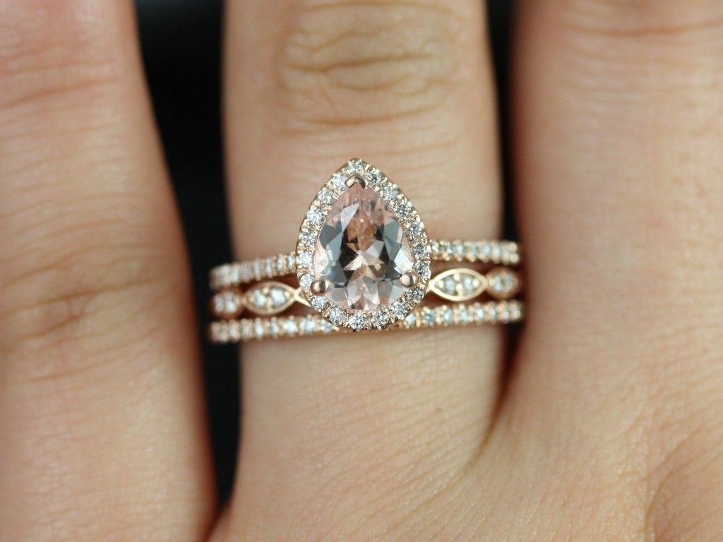 trio wedding ring set Tabitha mm Christie 14kt Rose Gold Pear Morganite and Diamonds Halo TRIO Wedding Set Other metals and stone options available