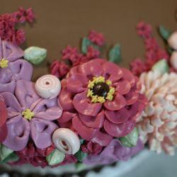 Zinnias and Chrysanthemums Buttercream Decorated Cake Buttercream