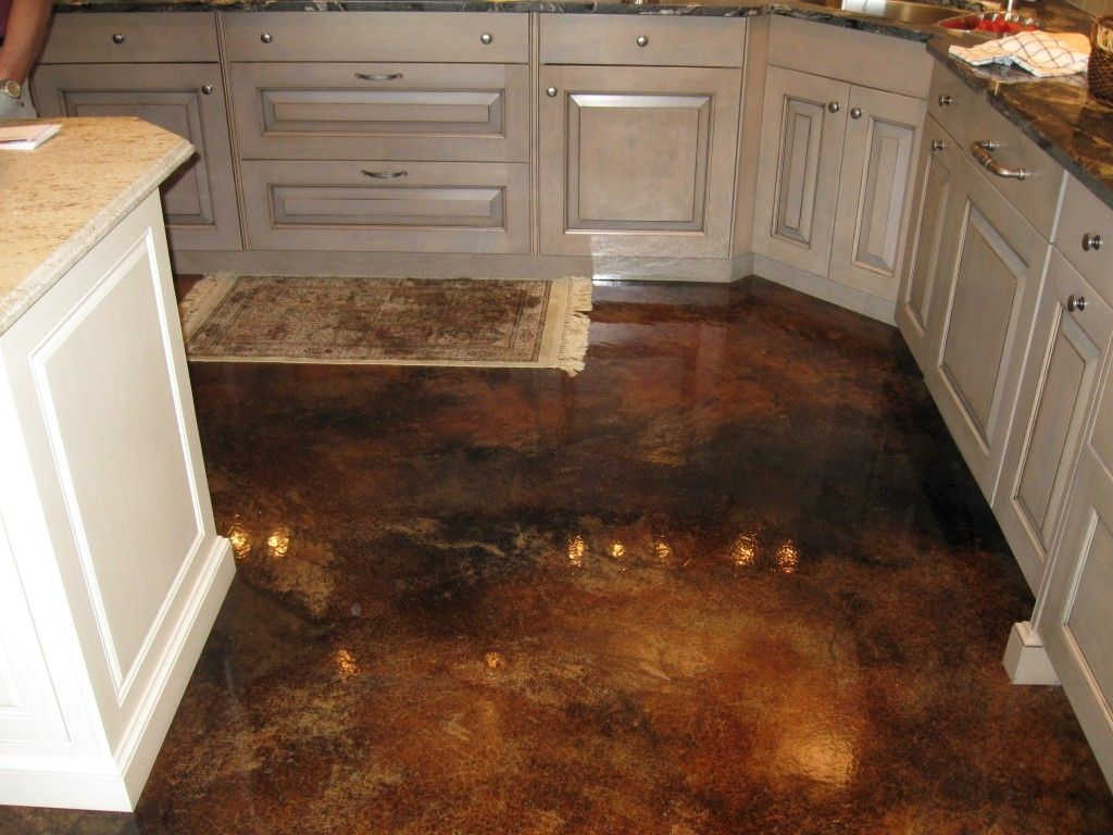 concrete kitchen floor Wondrous Concrete Flooring Kitchen Design Ideas Interior Decorative Concrete Nice Kitchen Floor Featuring Brown High Gloss Concrete Flooring And White