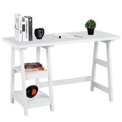 Laptop Table Computer Desk Trestle Writing Table White Wood Home