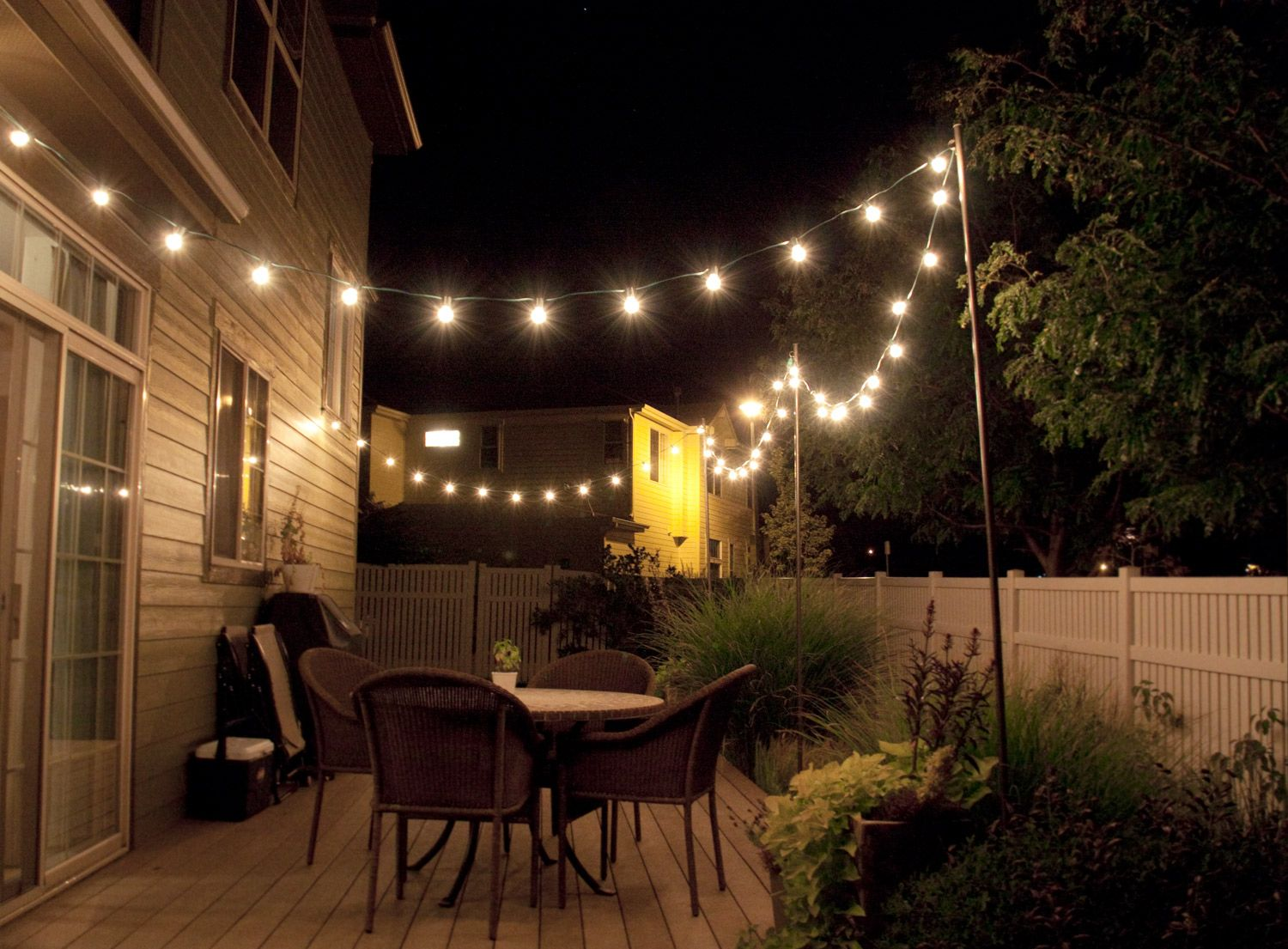 how to make inexpensive poles hang string lights on caf style via bright cafe lighting ideas t