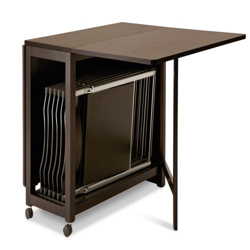 folding kitchen table Nice Folding Dining Table Choices Incredible Folding Dining Table Design Which Is Made From Dark Colored Wooden Material With Black Chairs