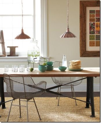 rustic table with bertoia chairs contemporary furniture