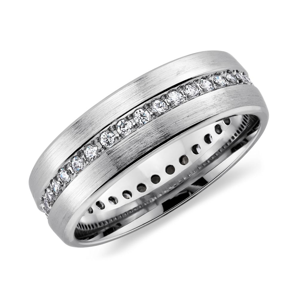 platinum wedding band Brushed Diamond Eternity Men s Wedding Ring in Platinum