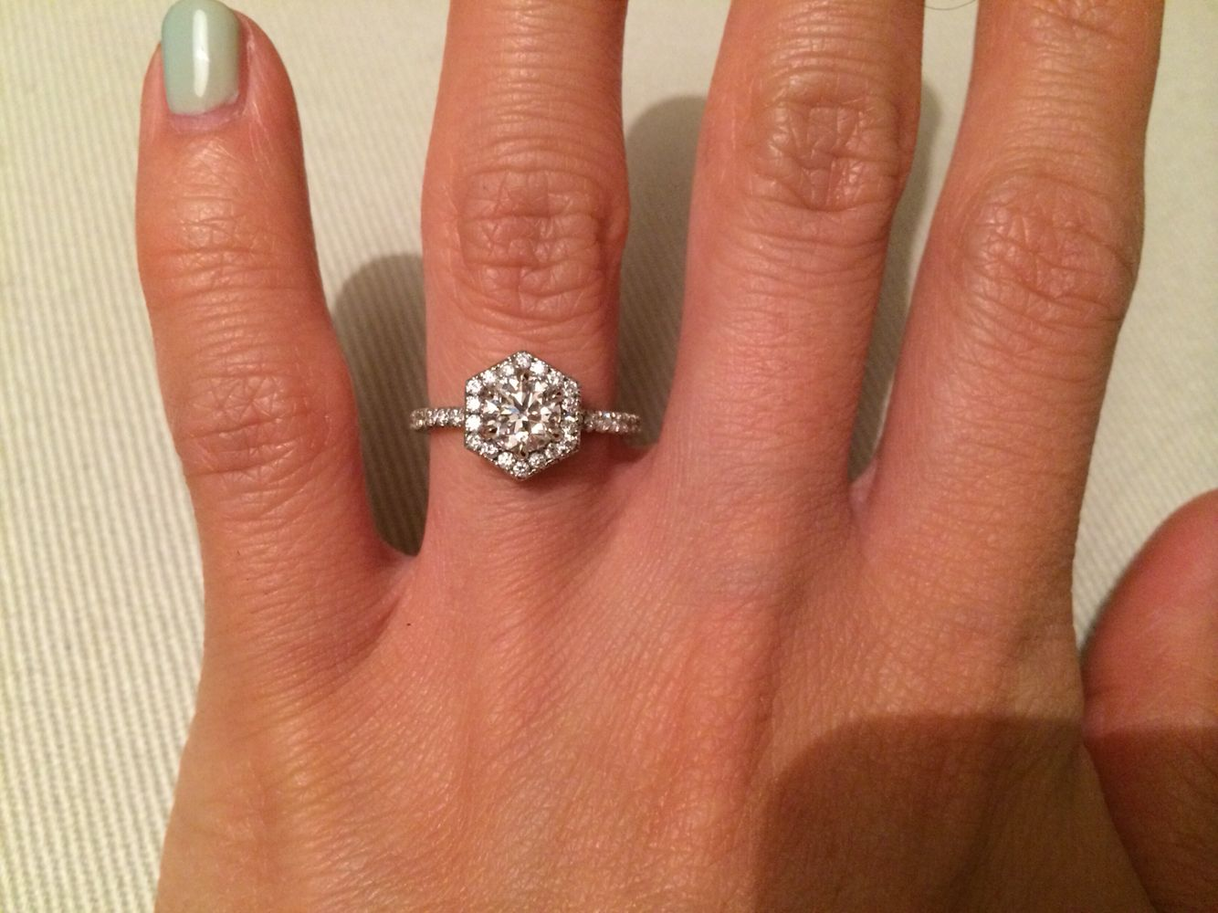 custom wedding rings Custom made hexagon halo engagement ring