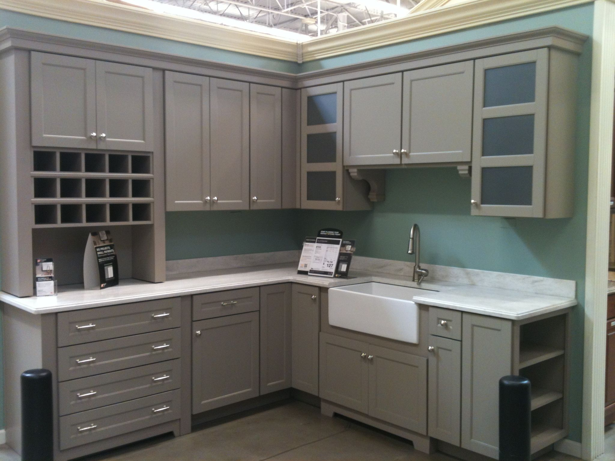 kitchen remodel home depot Martha Stewart Cabinets from Home Depot Like the shelves on the end