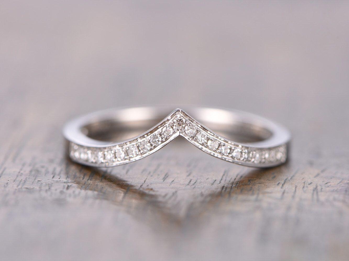 contour diamond wedding band 14K White Gold V Wedding Band Chevron Wedding Band V Wedding Band Curved Wedding