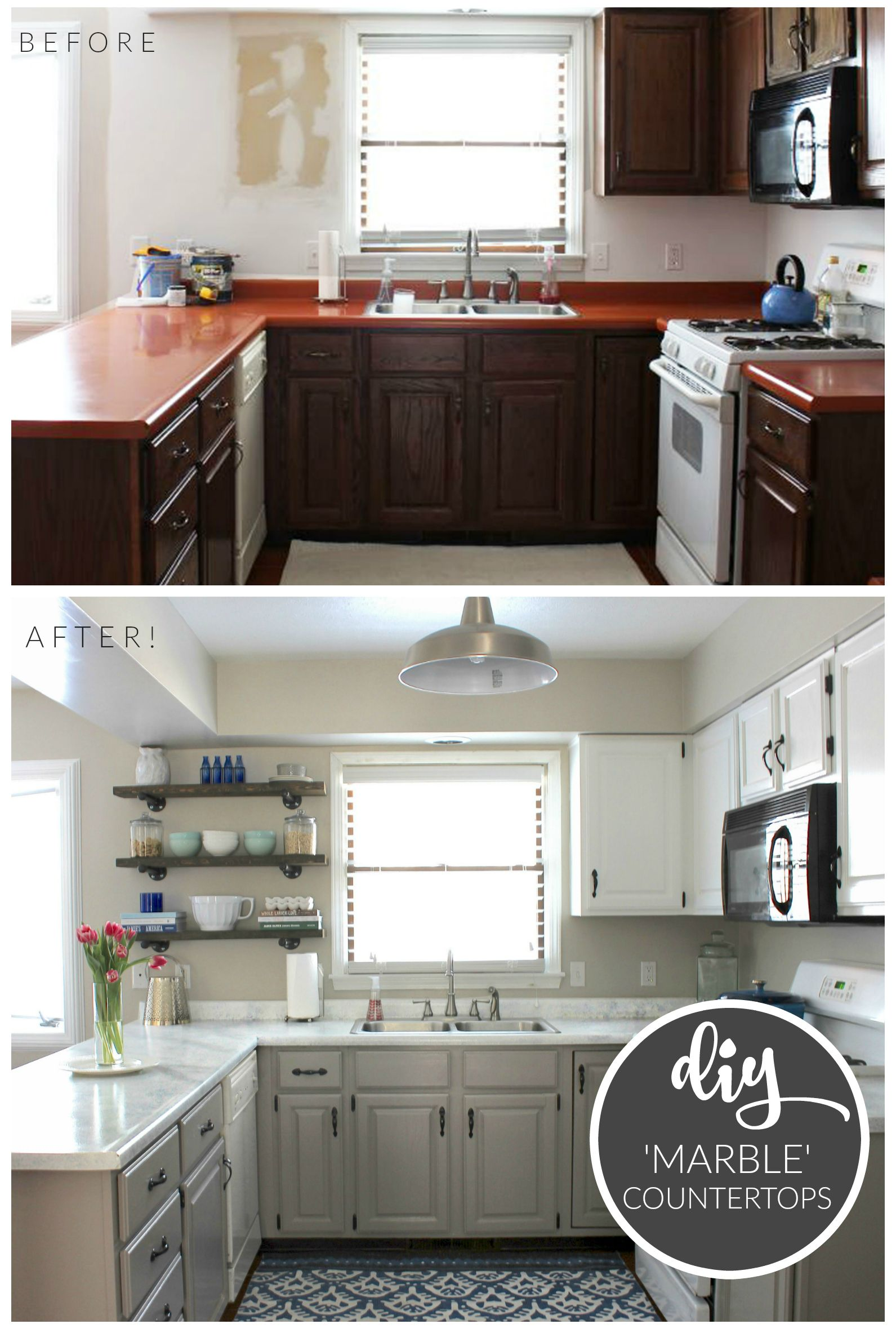 inexpensive kitchen countertops Budget Kitchen Makeover DIY Faux Marble Countertops Painted with the White Diamond