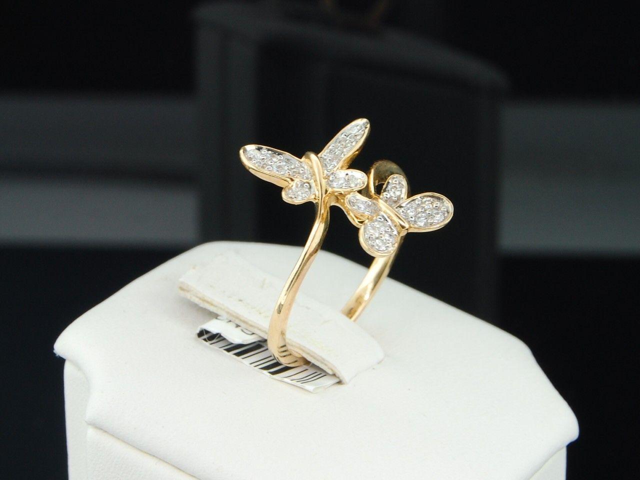 butterfly wedding rings Butterfly opal wedding ring set women WOMENS YELLOW GOLD DOUBLE BUTTERFLY DIAMOND