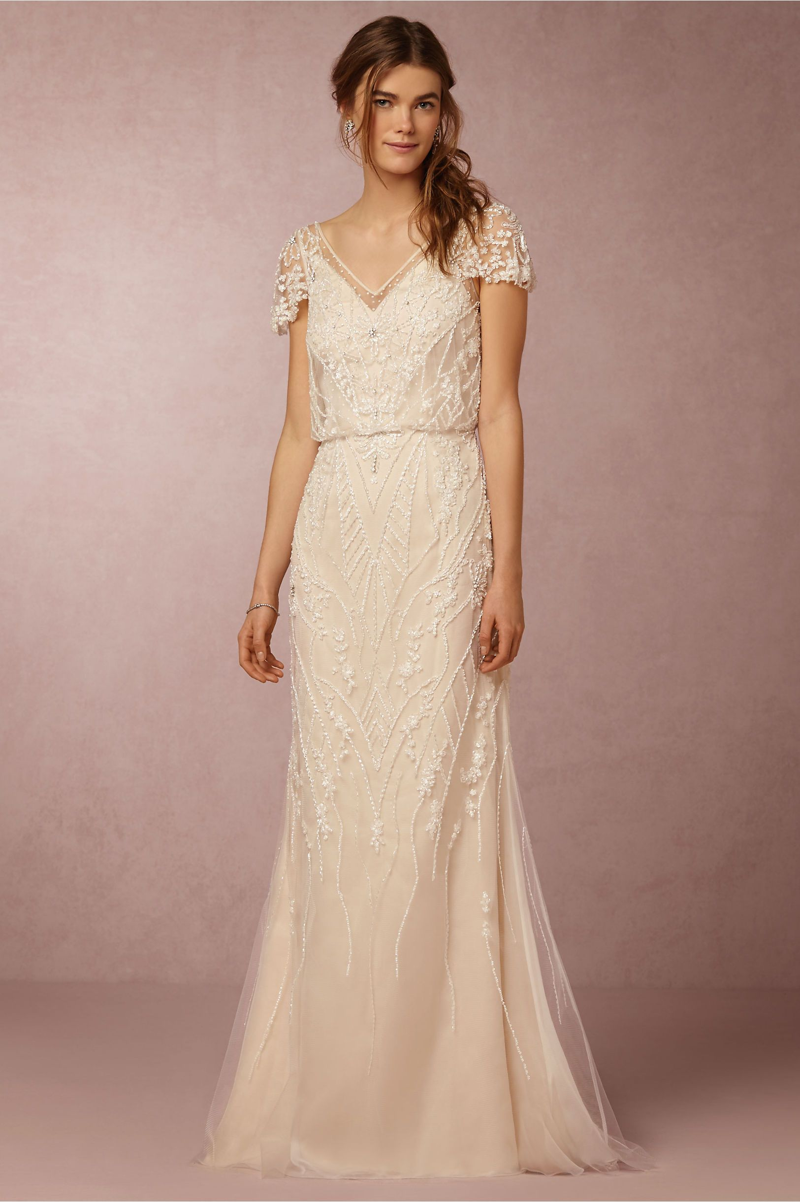short sleeve wedding dresses BHLDN Aurora Gown in Bride Wedding Dresses at BHLDN mostly added b c I think it would look nice on Caitlin