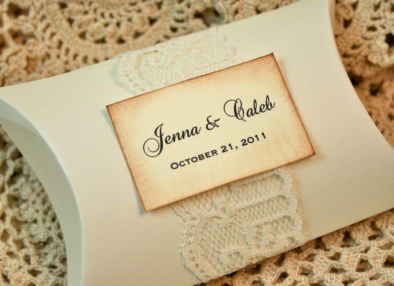 wedding favor boxes DIY idea DIY Favor boxes Vintage Personalized Pillow Boxes Wedding Favor Pearl