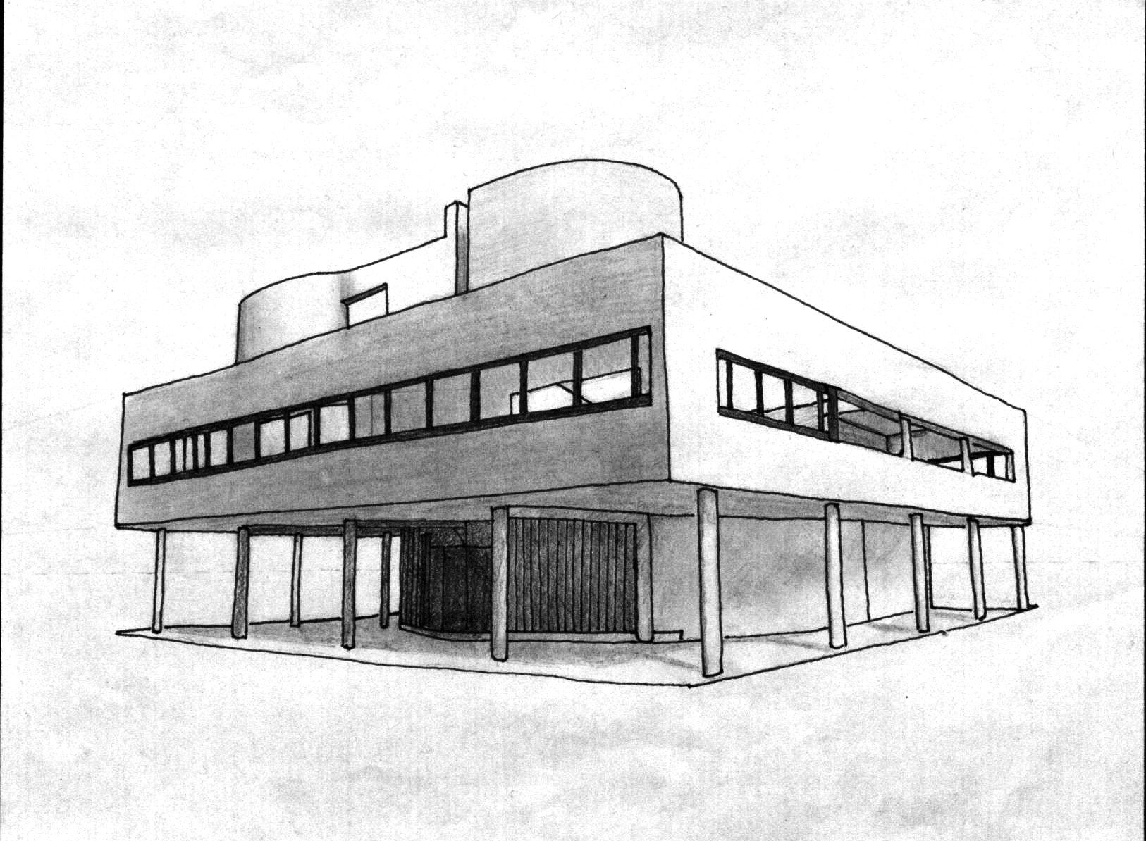 Brilliant Architecture Design Sketches Villa Savoye Sketch And Inspiration
