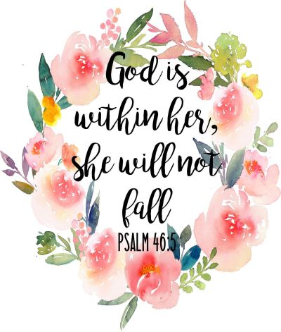 God Is Within Her, She Will Not Fall Psalm 46:5 - DIGITAL DOWNLOAD Christian Wall Art by ...