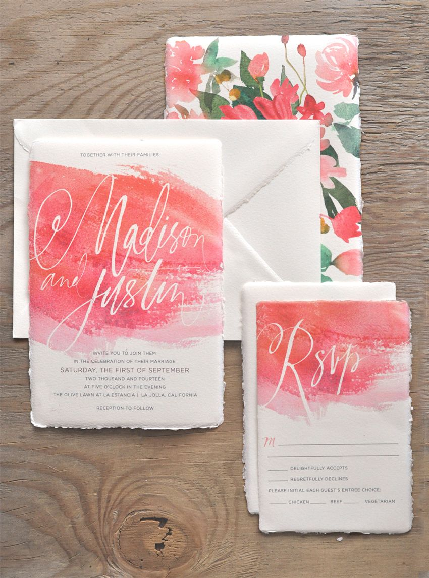 plantable wedding invitations Oh So Beautiful Paper Watercolor Calligraphy Wedding Invitations by Julie Song Ink Inspirational Weddings