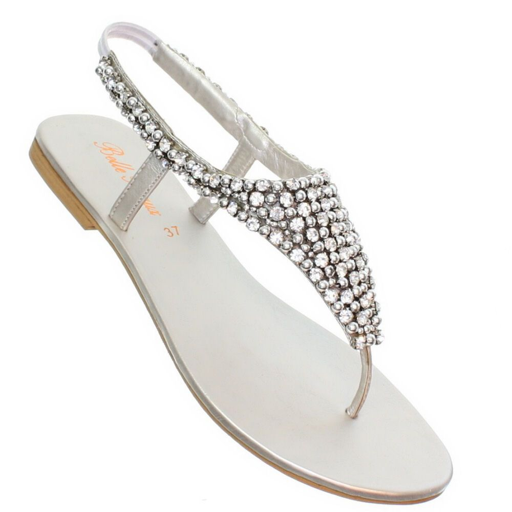 wedding sandals Womens flat diamante sparkly toe post silver party wedding sandals size 3 8