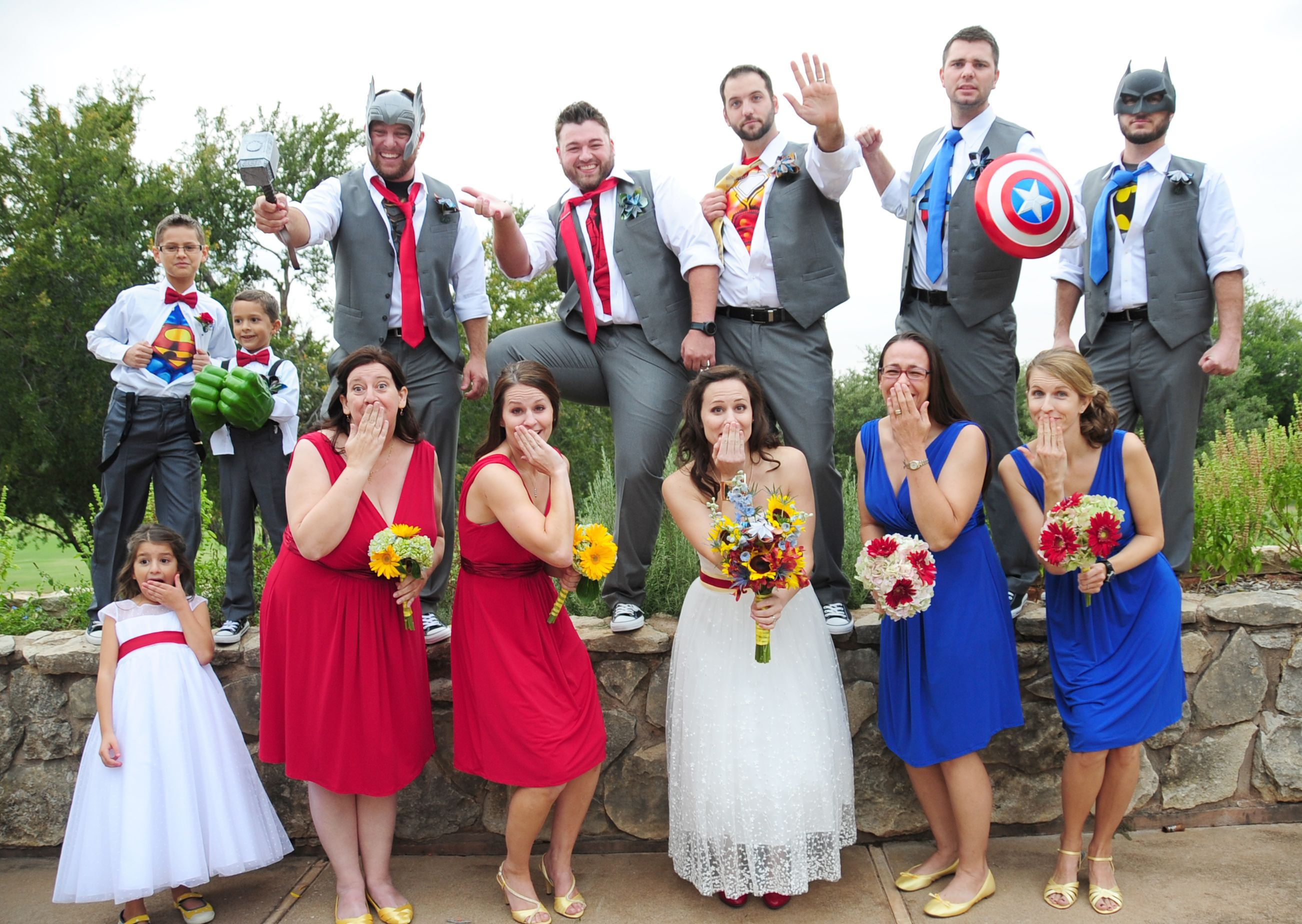 captain america wedding band Superhero wedding party with props Everyone had so much fun The Hulk Thor