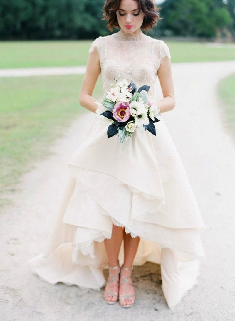 high low wedding dress High Neck Cap Sleeve Lace Wedding Dress Short Front Long Back Bridal Gown High Low Style