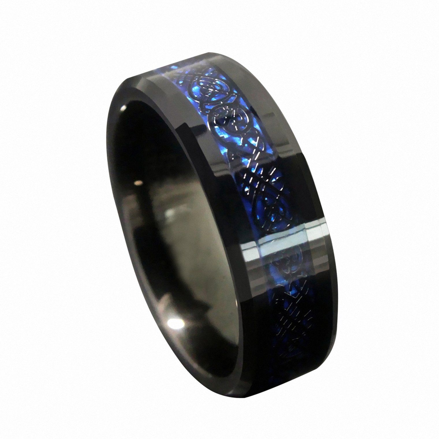 overstock mens wedding bands Queenwish 8mm Blue Black Silvering Celtic Dragon Tungsten Carbide Ring Wedding Band Mens Jewelry Size 8