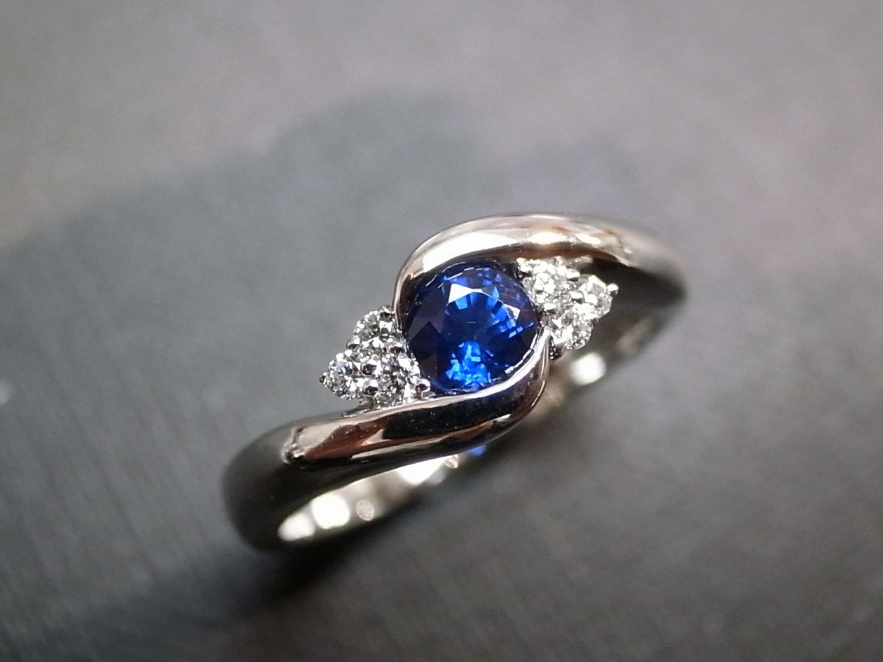 sapphire wedding band Blue Sapphire Rings Diamond Rings Engagement Rings Wedding Band Gemstone Rings Women Jewelry Personalized Jewelry 14K White Gold