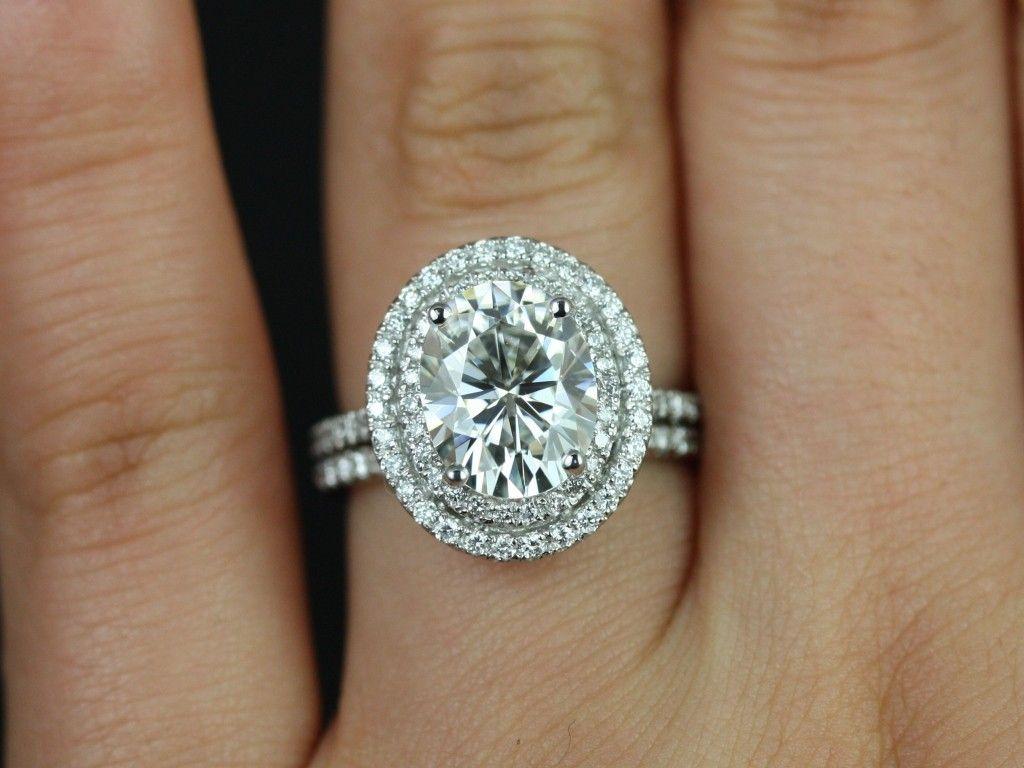 halo wedding ring sets Rosados Box Cara White Gold Oval FB Moissanite Double Halo Wedding Set 3 This engagement ring