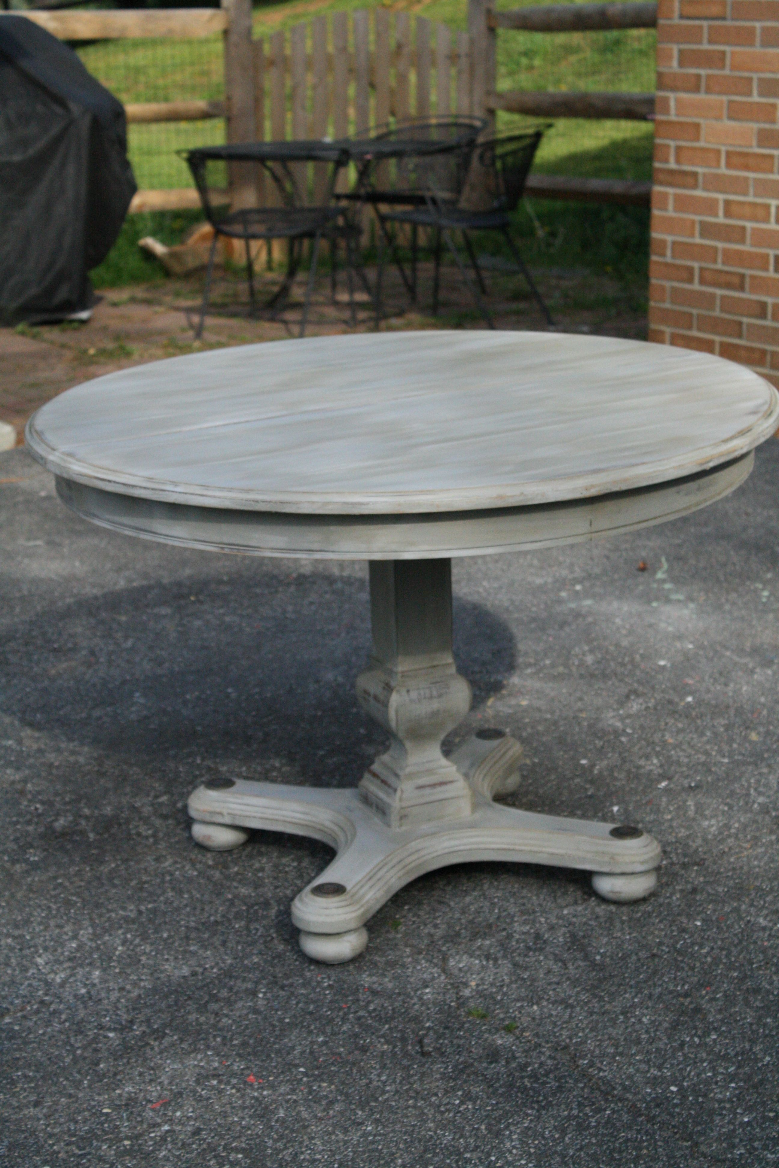 round kitchen table Primitive Proper Weathered Paris Gray Dining Table using Briwax