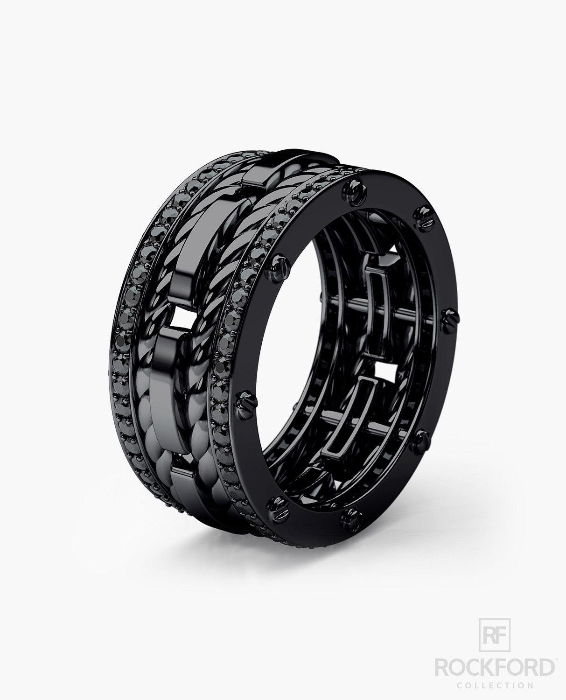 black mens wedding rings ROPES Black Rhodium Gold Mens Wedding Band with 1 05 ct Black Diamonds