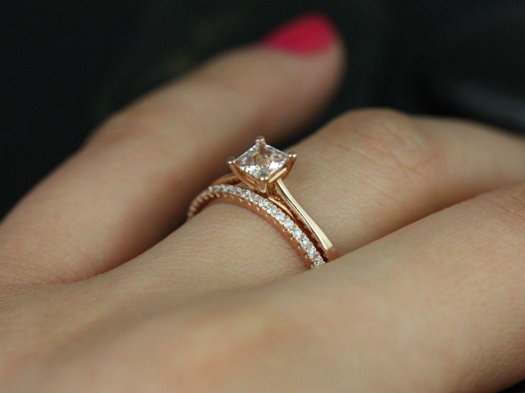 wedding jewelry wedding set Rosados Box Ultra Petite Gallina 4mm Barra Rose Gold Princess Morganite and Diamonds Wedding Set